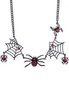 Halloween Spider And Web Charm Necklace - Black