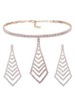 Rhinestone Pyramid Pendant Choker Necklace And Earrings - Golden