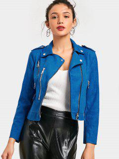 Cropped Zip Up Faux Suede Motorcycle Jacket - Blue L