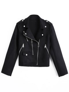 Cropped Zip Up Faux Suede Motorcycle Jacket - Black M
