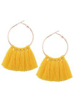 Circle Tassel Hoop Earrings - Yellow