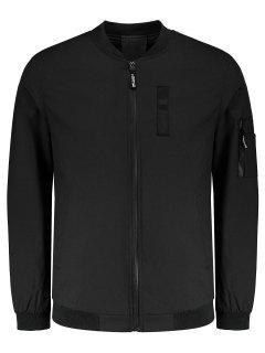 Pockets Zippered Jacket - Black 4xl