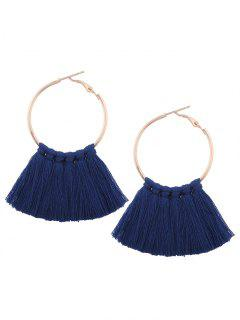 Circle Tassel Hoop Earrings - Navy Blue