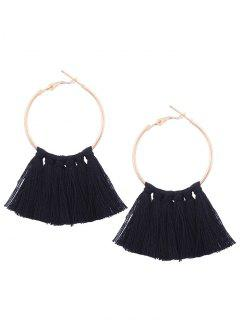 Circle Tassel Hoop Earrings - Black