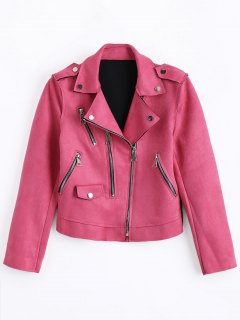 Cropped Zip Up Faux Suede Motorcycle Jacket - Rose Red L