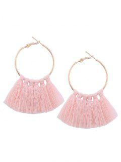 Circle Tassel Hoop Earrings - Light Pink