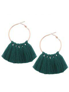 Circle Tassel Hoop Earrings - Dark Green