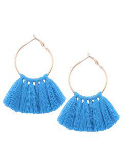 Circle Tassel Hoop Earrings - Blue