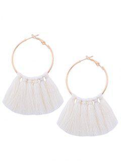 Circle Tassel Hoop Earrings - White