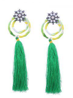 Flower Double Hoop Tassel Pendant Earrings - Green