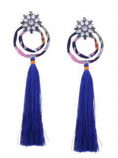 Flower Double Hoop Tassel Pendant Earrings - Blue