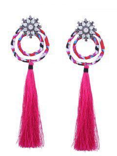 Flower Double Hoop Tassel Pendant Earrings - Rose Red
