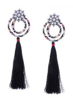 Flower Double Hoop Tassel Pendant Earrings - Black