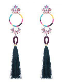 Rhinestone Hoop Tassel Pendant Earrings - Dark Green