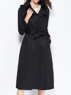 Back Slit Belted Coat With Pockets - Black Xl