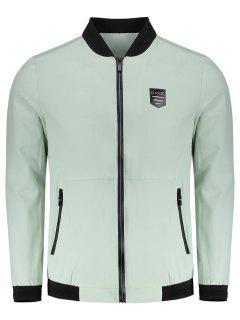 Bomber Zipper Jacket - Light Green 2xl