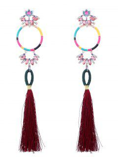 Rhinestone Hoop Tassel Pendant Earrings - Claret