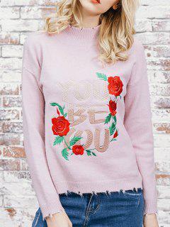 Pull à Fleurs à Col Haut - Rose Léger