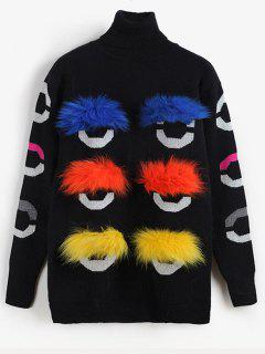 Fluffy Graphic Turtleneck Sweater - Black