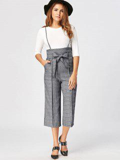 Plaid Belted Suspender Pants - Gray Xl