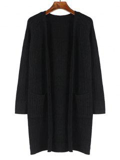 Pockets Plain Open Front Cardigan - Black