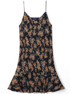 Drop Waist Spaghetti Strap Pleated Printed Dress - S