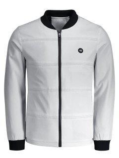 Zipper Ok Patch Jacket - Light Gray 2xl