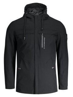 Slim Fit Hooded Zipper Jacket - Black 3xl