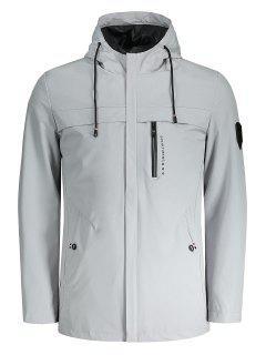 Hooded Slim Fit Zipper Jacket - Gray 4xl