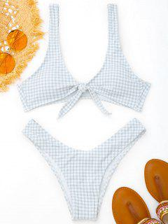 Front Tie Thong Plaid Bikini Set - Grey And White M