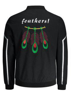 Embroidered Zipper Jacket - Black 2xl