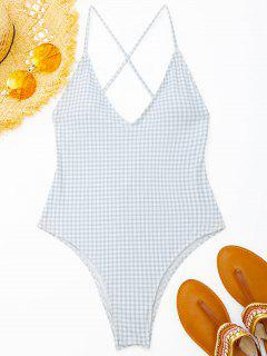 Ruched High Cut Checked Swimwear - Grey And White M