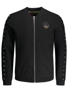 Metal Ring Badge Jacket - Black 4xl