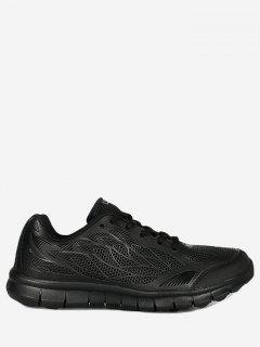 Mesh Lace Up Sneakers - Black 40