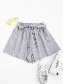Belted Marled Sports Shorts - Gray S