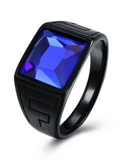 Faux Sapphire Finger Ring - Black 7