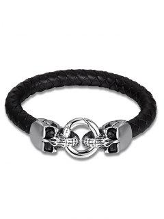 Skulls Faux Leather Weaving Bracelet - Black