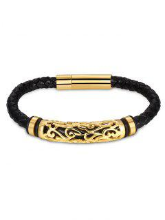 Hollow Out Carve Alloy Weaving Bracelet - Golden