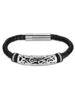 Hollow Out Carve Alloy Weaving Bracelet - Silver