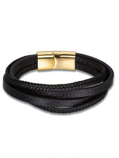 Faux Leather Braid Multilayered Bracelet - Black