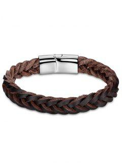 Artificial Leather Cool Braid Bracelet - Brown