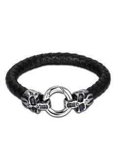 Bracelet Braid Bracelet Halloween Faux Leather - Noir