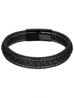 Artificial Leather Braid Bracelet - Black