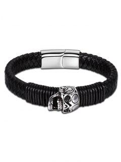 Halloween Faux Leather Braid Skull Bracelet - Black