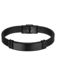 Artificial Leather Vintage Bracelet - Black