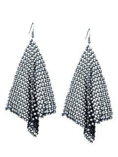 Sparkly Rhinestoned Geometric Hook Earrings - Gun Metal
