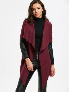 Belted Faux Leather Panel Coat - Wine Red 2xl
