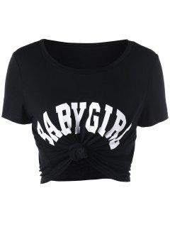 Baby Girl Cropped Tee - Black S