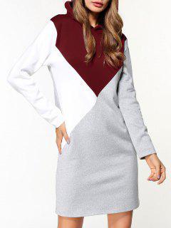 Fleece Color Block Hoodie Dress - Gray Xl