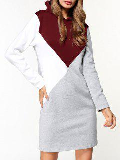 Fleece Color Block Hoodie Dress - Gray L